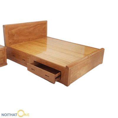 giường ngủ gỗ đinh hương có hộc kéo
