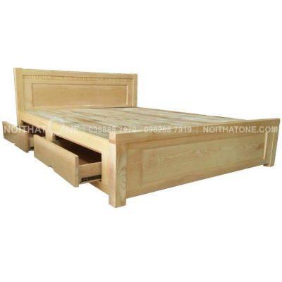 giường ngủ gỗ sồi nga có hộc kéo