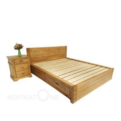 giường ngủ nhật gỗ sồi pano có hộc kéo