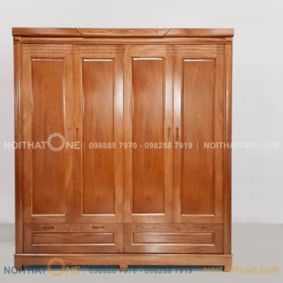tủ quần áo gỗ xoan đào 4 cánh