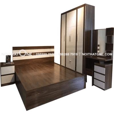 bộ giường ngủ gỗ mdf phủ melamine