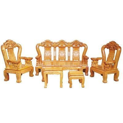 bộ bàn ghế salon gõ đỏ tay 10