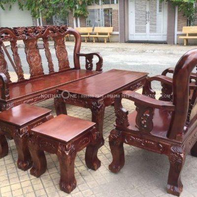 Bộ bàn ghế salon gỗ xoan đào tay 10
