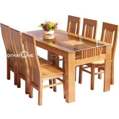 bộ bàn ăn hiện đại 6 ghế gỗ sồi